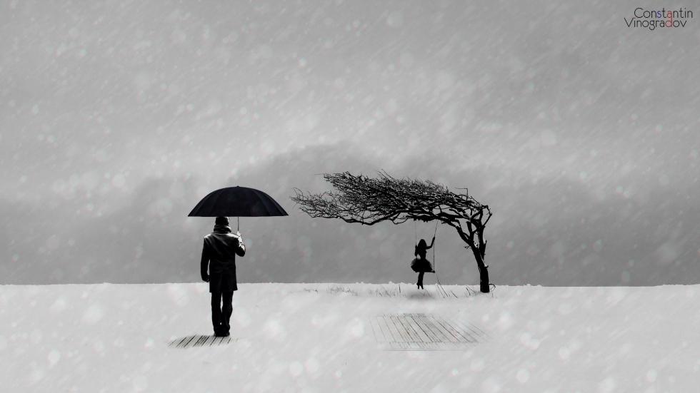 man-look-girl-swing-under-winter-snowfall-minimalism-wallpaper